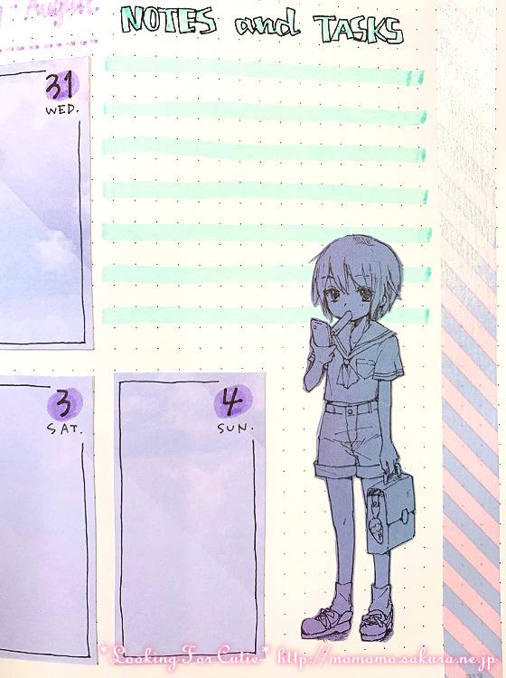 【バレットジャーナル】ウィークリーログ|今回はイラストを描きました【メイキング動画】